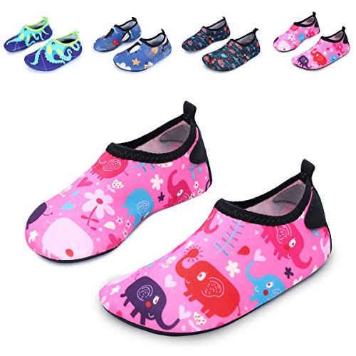 - 516s4wmTTwL - L-RUN Children's Swim Shoes Barefoot Skin Water Shoes Breathable Pink_red 4-5=EU 20-21
