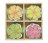 Holz, Blumen, Blumen 16 Stück Gesetzt Glitter Kleinkind Spielzeug Crafting Scarpbook