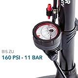 Camden Gear Fahrradpumpe, Luftpumpe für Fahrrad mit Alle Ventile z.B. Französisches und Auto Ventil, Standpumpe mit Manometer Fahrradluftpumpe Adapter Test