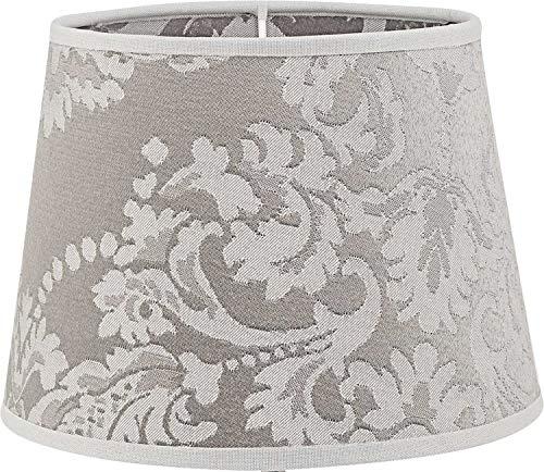 Kleiner Lampenschirm Silber mit Barock-Muster für E14 Tischleuchte Stoff Nachttischlampe Schirm