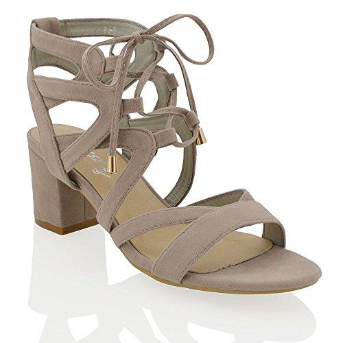 ESSEX GLAM Damen Niedriger Blockabsatz Schnitten Ferse Sandalen im Gladiatorstil zum Schnüren Zehenfrei Schuhe Grau Wildlederimitat