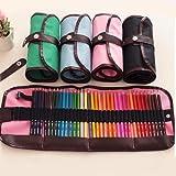Demana - Astuccio arrotolabile in tela, con 48 fori, per penne, matite e colori 60 cm rosa
