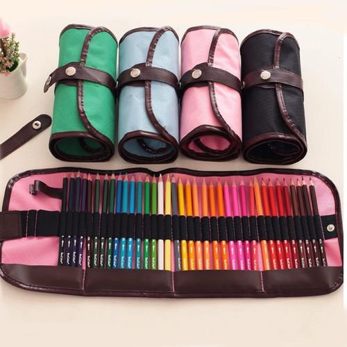 Demana tela di matita penna bag storage wrap custodia arrotolabile 48fori inserendo holder 60 cm rosa