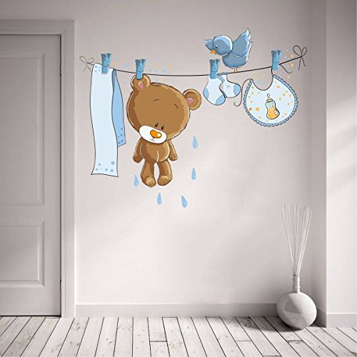 ZigRocket Lustige Teddybär Wandaufkleber Abnehmbare Aufkleber Home Decor 98 x 104 cm (Teddybär Lustig)