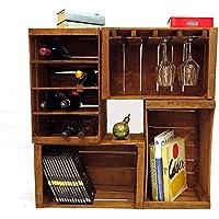 Cajones de fruta, botelleros, librero, mini mueble bar modular compuesto por 4 cajas vintage