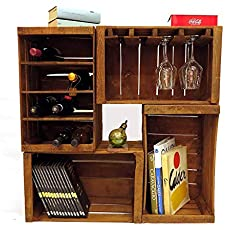 Cajones de fruta, botelleros, librero, mini mueble bar modular compuesto por.