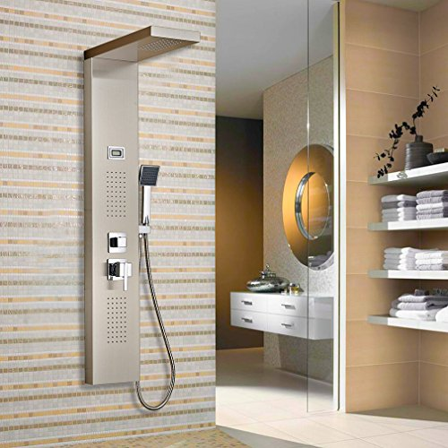 Auralum – Edelstahl Duschpaneel-Set mit Massagejets, Wasserfall und LCD-Display - 8