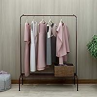 DUMEE Metal Garment Rack Heavy Duty Indoor Bedroom Clothing Coat Hanger With Top Rod and Lower Storage With 1-Tier Shelves Hallway Brown