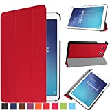 Bestdeal® High Quality Ultra Slim Lightweight SmartCover Stand Case for Samsung Galaxy Tab E 9.6 inch T560 & T561 Tablet PC + Screen Protector and Stylus Pen (Red)