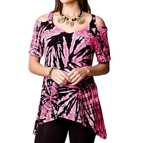 OverDose Boutique Damen unregelmäßigem T-Shirt Cami Trägerlos Neuheit Kurzarm Drucken Stretch Freizeit Tunika Tops Blusen Oberteile Große Größen S-5XL(Rosa,EU 36/CN ()