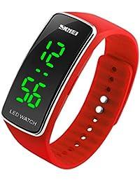 SKMEI Bracelet en silicone Montre Digital Sport Montres avec LED (Rouge)