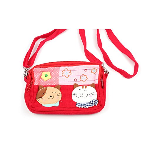 Kleine Umhängetasche Kosmetiktasche für Kinder mit Katzen-Aufnäher und Blumen (lila) rot