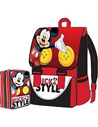 Preisvergleich für Disney Micky Maus Schul-Set Promo-Paket Rucksack erweiterbar, mit Federmäppchen, Edition 2015–2016