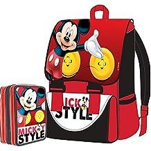 9a5b6fa6ee4fbf Kit Scuola School Promo Pack Zaino Estensibile + Astuccio 3 Zip Disney  Mickey Mouse Topolino Edizione