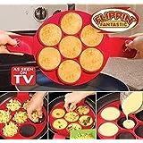 Miaogo pancake maker Omelette Silicone mold, Premium Qualité Alimentaire Moule anti-adhésif en Silicone outil de cuisine famille Pack(rouge)