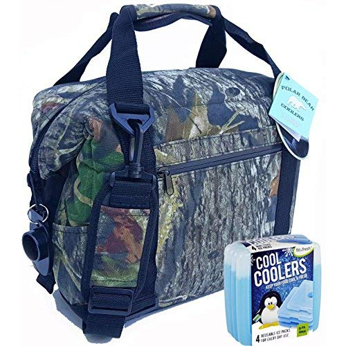 Polar Bear Coolers Nylon Series Soft Cooler Tote Größe 12 Pack (Mooseiche Breakup) & Fit & Fresh Cool Coolers Slim Ice Kühler 4er Pack (zufällig) - Auslaufsichere Soft Cooler