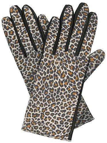 Grandoe Damen Kitty Leder Palm Handschuh, Leopard Print, Damen, Schwarz/leopardendesign, Large (Leopard Kitty)