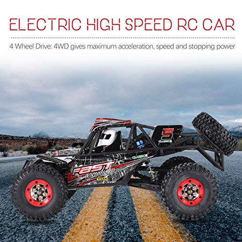Wltoys 12428-C 1/12 4WD 50 km/h RC Crawler Off-Road Truck Coche eléctrico RC (Color: Negro-rojo)