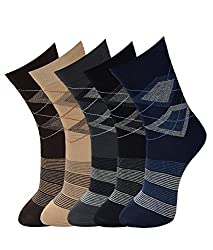 Vinenzia Cotton Argyle design crew length mens socks Pack Of 5