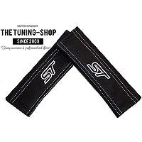 """2x cinturón de seguridad Cubre Pads piel """"ST color blanco bordado Edition"""