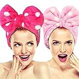 Lot de 2Hairizone Cute extensible Nœud pour lavage visage Bandeaux, Lovely Serviette Bandeau Cheveux pour maquillage, douche, SPA, massage et sportives