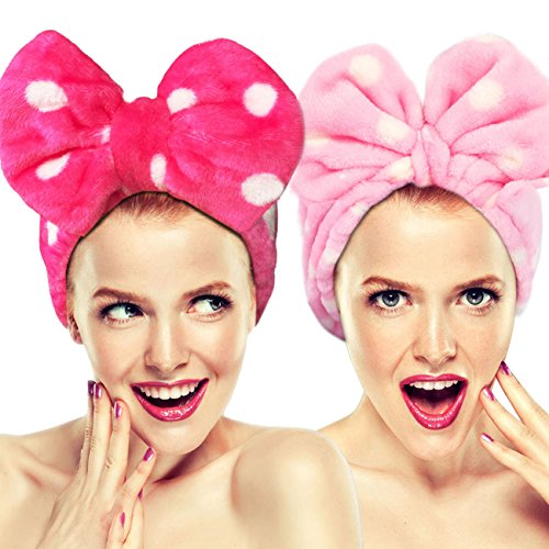 2pezzi hairizone cute elastico fasce per capelli con fiocco wash face, lovely asciugamano fascia per capelli per make-up, doccia, spa, massaggi e sportivi