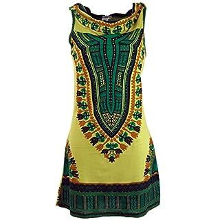 Guru-Shop Kapuzen Dashiki Minikleid, Goa Festivalkleid, Damen, Lemon, Baumwolle, Size:M/L (38/40), Kurze Kleider Alternative Bekleidung
