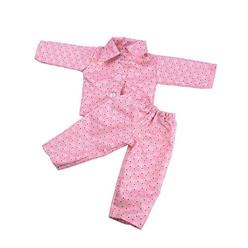 FLAMEER Zweiteilige Puppen Pyjamas Nachtwäsche Schlafanzug Kleidung für 18 Zoll Puppe - Lila Ahorn Blätter