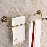 LHbox Tap Laiton Antique Towel Rack Double Bar Salle de Bains sèche-Serviettes Salle de Bains...