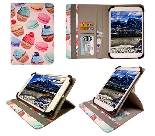 YunTab E706 Tablet 7 Inch Cup Cakes Universal 360 Grad Wallet Schutzhülle Folio mit Kartensteckplätzen ( 7 - 8 zoll ) von Sweet Tech
