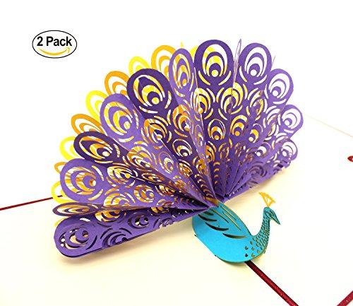 Peacock Pop-up Geburtstagskarte für Frau Mann Kinder Halloween Thanksgiving-Karte und Umschläge Handmade Laser Cut Jubiläum Hochzeit Graduation Karten von ICEBLUEOR, lila