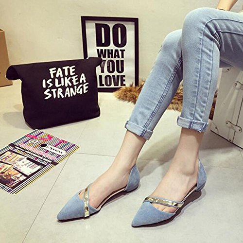 Women Pointed Single Piece Of Candy Color Metal Trim Bag With Flat Bottom Ladies Sandals , blue , 39