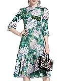 Aofur Elegant Damen Etuikleid Bleistiftkleid Schößchen Sommerkleid Abendkleid Midikleider Business Herbstkleid Kleider Retro Festlich Hochzeit Größe 34-48 (36/M, Grün)