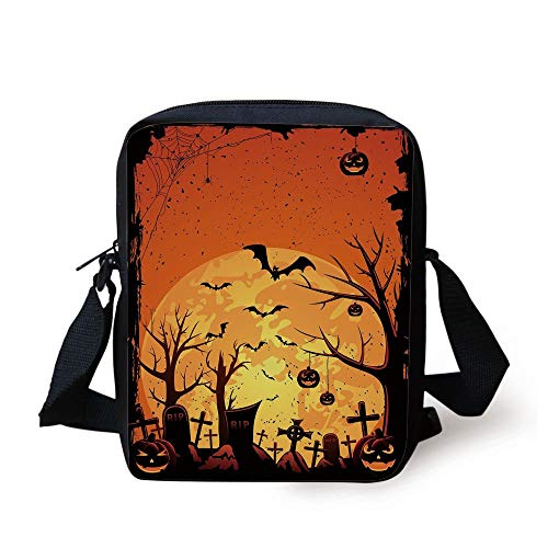 Halloween,Grungy Graveyard Cemetery Necropolis with Bats Pumpkins Crosses Cobweb Decorative,Orange Brown Black Print Kids Crossbody Messenger Bag Purse