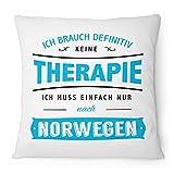 Fashionalarm Kissen Ich brauch keine Therapie - Norwegen - 40x40 cm mit Füllung | Geschenk Idee Spruch Urlaub Reise Oslo Zelten Camping, Farbe:weiß