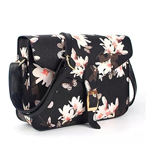 Minetom Kuriertasche Damen Umhängetasche aus PU Leder Blume Gedruckt Handtaschen Arbeit Büro Clutch Crossbody Schultasche Schultertasche Tasche Frauen Freizeit Rucksack