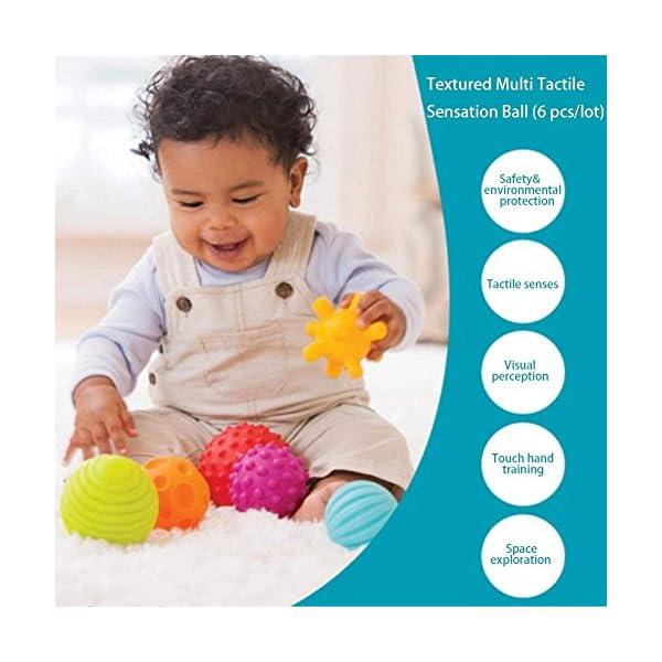 ROHSCE 6pcs Baby Textured Multi Ball Set Infant Sensory balls Massage Soft ball 3