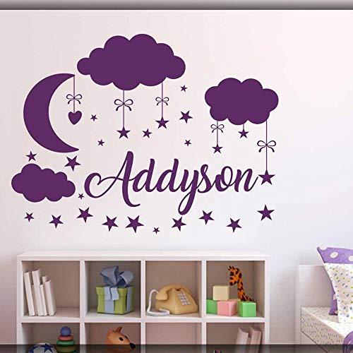 Sticker Da Muro Personalizzati.Wsyyw Wall Sticker Clouds Moon Stars Decalcomania Da Muro Babys Bedroom Decor Nome Personalizzato Vinile Nursery Adesivo Bianco 72x57cm