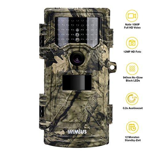 Produktbild WiMiUS Wildkamera Fotafalle Native 1080P Full HD Wildkameras mit Bewegungsmelder 20m Nachtsicht 12MP Jagdkamera Überwachungskamera