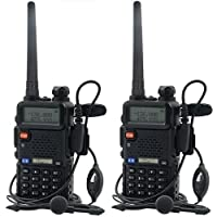 Baofeng UV-5R Talkie-walkie FM Radio VHF/UHF avec Double Bande Radio, Noir (2 pcs)