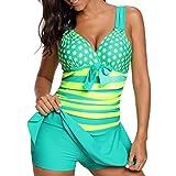 KEERADS Tankini Damen Bauchweg Große Größe V-Ausschnitt Streifen Polka Dot Bademode Schwimmkleid + Shorts (5XL, Grün)