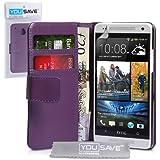 Yousave Accessories Schutzhülle aus PU Leder Wallet Cover für HTC One Mini–Lila