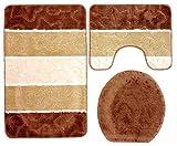 3- teilig Badgarnitur braun beige gestreift 80 x 50cm Badset Badematten Badteppich Stand-WC