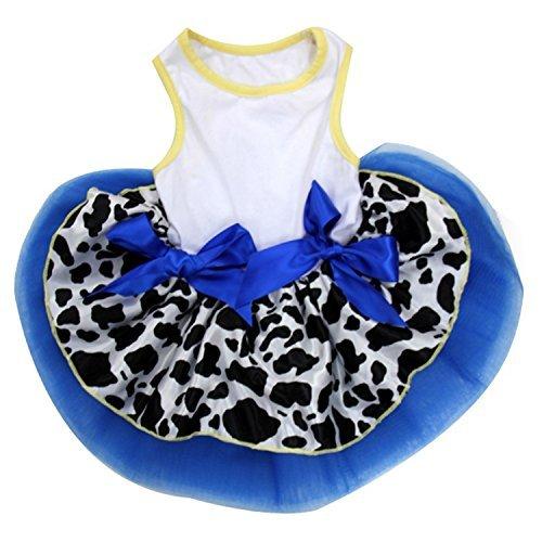 Kirei Sui Royal Blau Cowgirl Pets Tutu Kleid, XS, Weiß