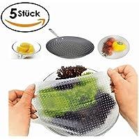 Clara's Kitchen Tools Wiederverwendbare Frischhaltefolie aus Silikon, BPA frei, langlebig & umweltfreundlich, 5 Stück, transparent, 22cm22cm,