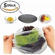 Clara's Kitchen Tools - Die wiederverwendbare Frischhaltefolie aus Silikon, 5 Stück, BPA frei, langlebig & umweltfreundlich