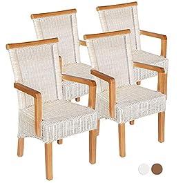 casamia Lot de 4 chaises de salle à manger en rotin avec accoudoirs Blanc