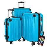 HAUPTSTADTKOFFER® Hartschalen Koffer SPREE 1203 · NEU 4 Doppel-Rollen · MATT · TSA Zahlenschloss · + KOFFERANHÄNGER (Set, Cyan Blau)