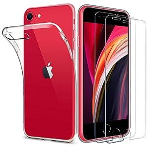 ILUXUS Hülle für iPhone Se 2020 [Panzerglas und Hülle], iPhone 8/7/Se 2020 handyHülle transparent Ultra Silikon TPU Schutzhülle für iPhone SE 2020