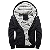 CRAVOG Kapuzenjacke Herren Kapuzenpullover Fleece-Futter Jacke Baumwolle Mantel Windmantel Wolljacke Softshelljacke Oberkleidung Outerwear,4 Farbe,6 Größe